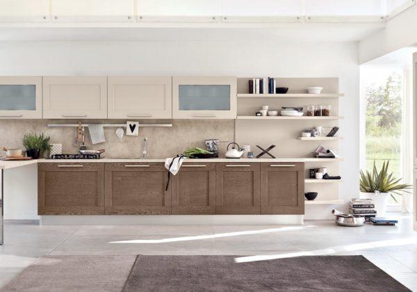 Кухонный гарнитур с открытой полкой
